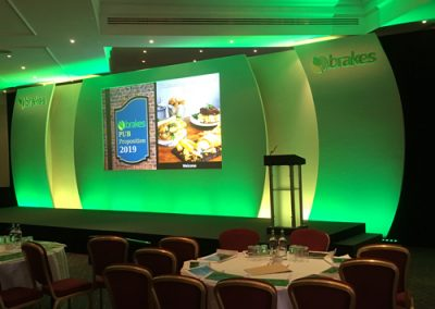 conference stage set up for brakes